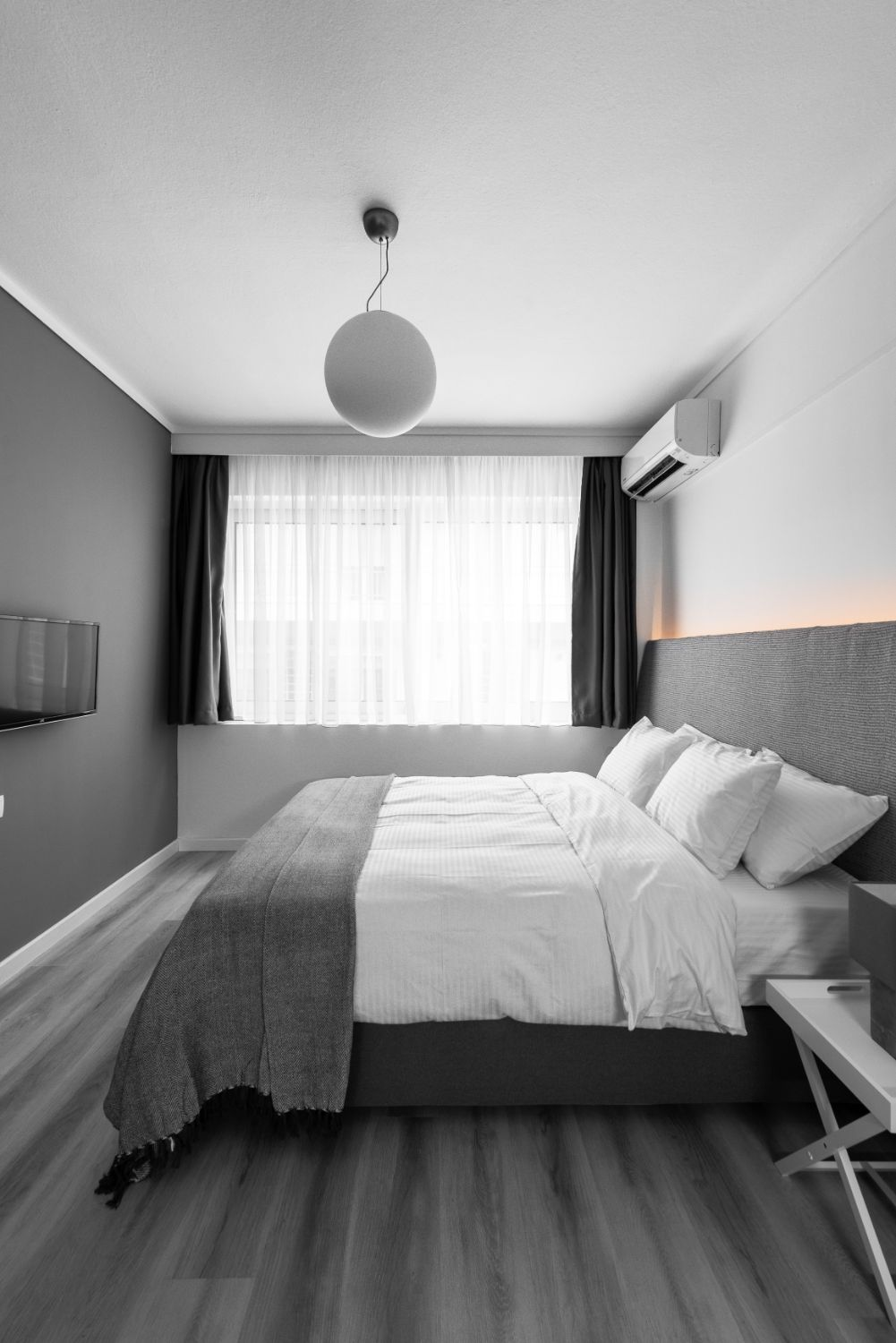 Suite #1, Bedroom area with 1 double bed and TV