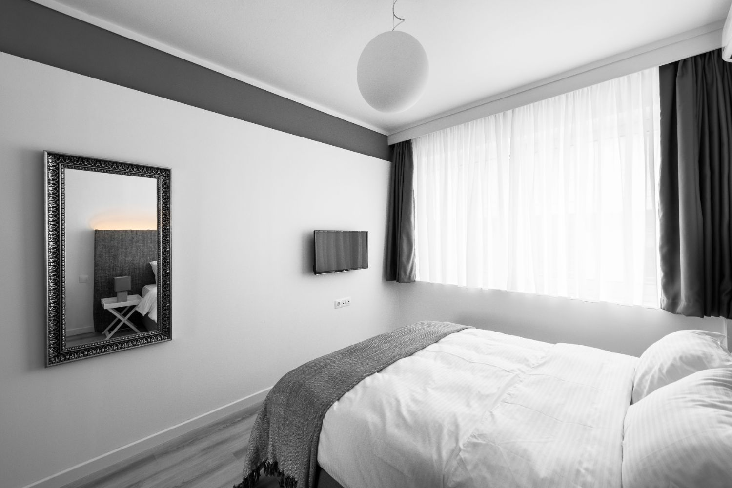 Suite #2, Bedroom area with 1 double bed and TV