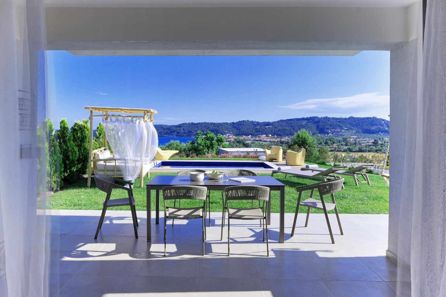 Outdoor dining area and view