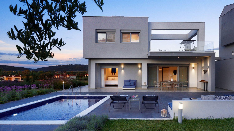 Villa Facade and Private pool
