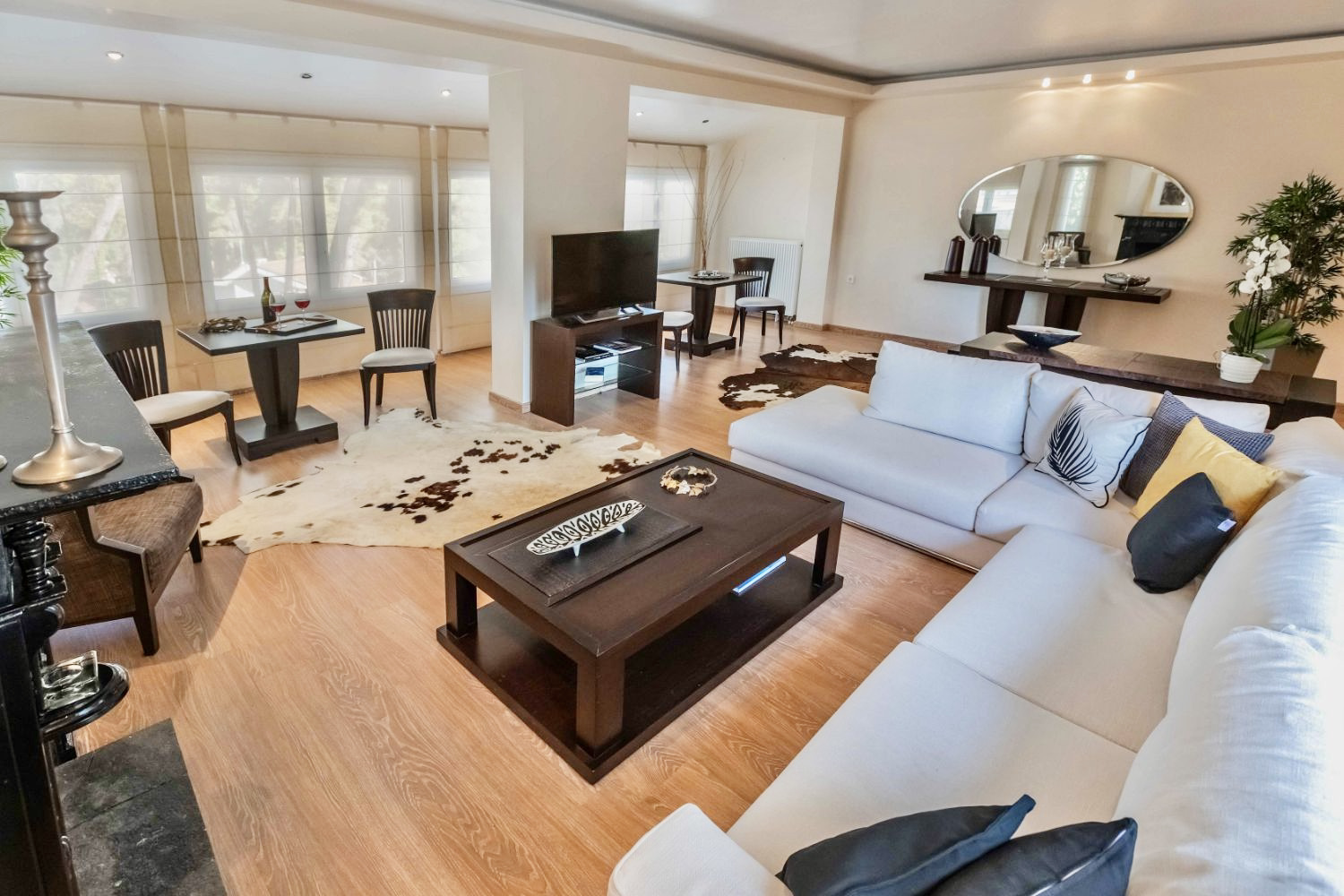 Living area and dining tables